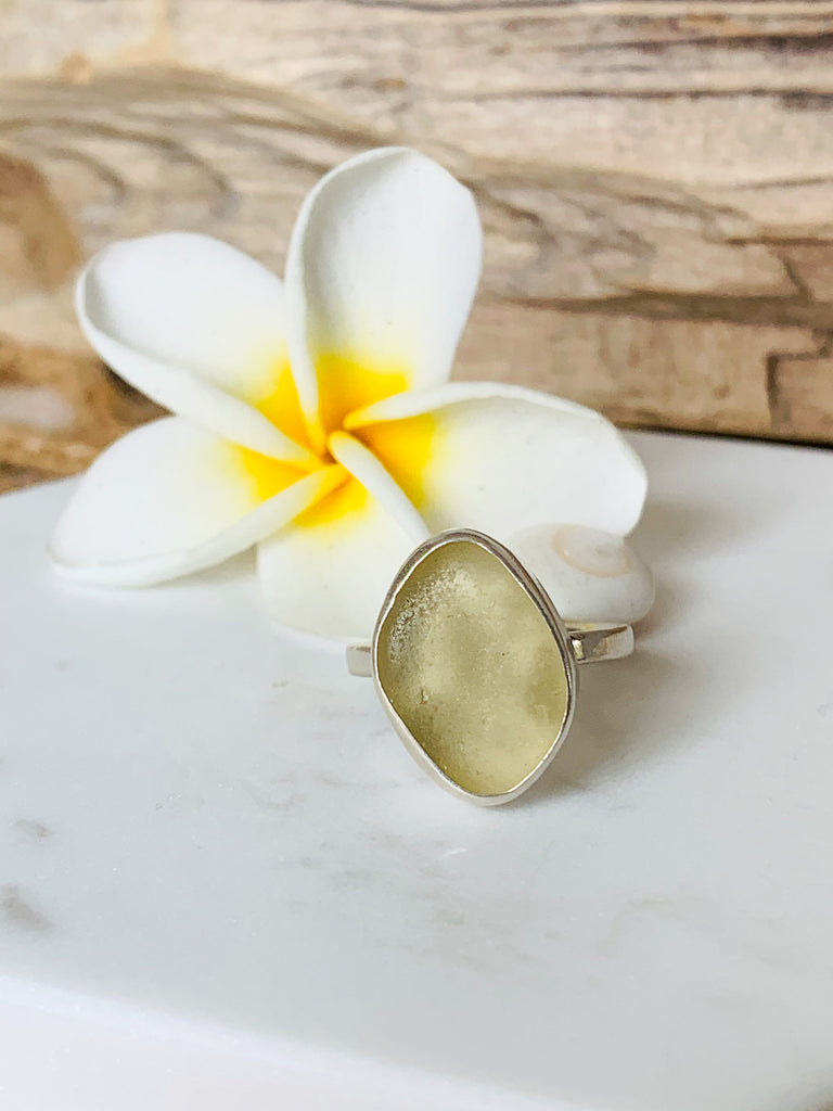 Sea Glass Ring- Yellow Size  6