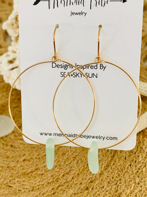 Gold Sea Glass Hoop Earrings - Lt Aqua