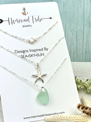 Sea Glass and Beach Charm Necklace Set Sterling