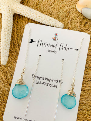 Sterling Threader Earrings-Aqua Chalcedony