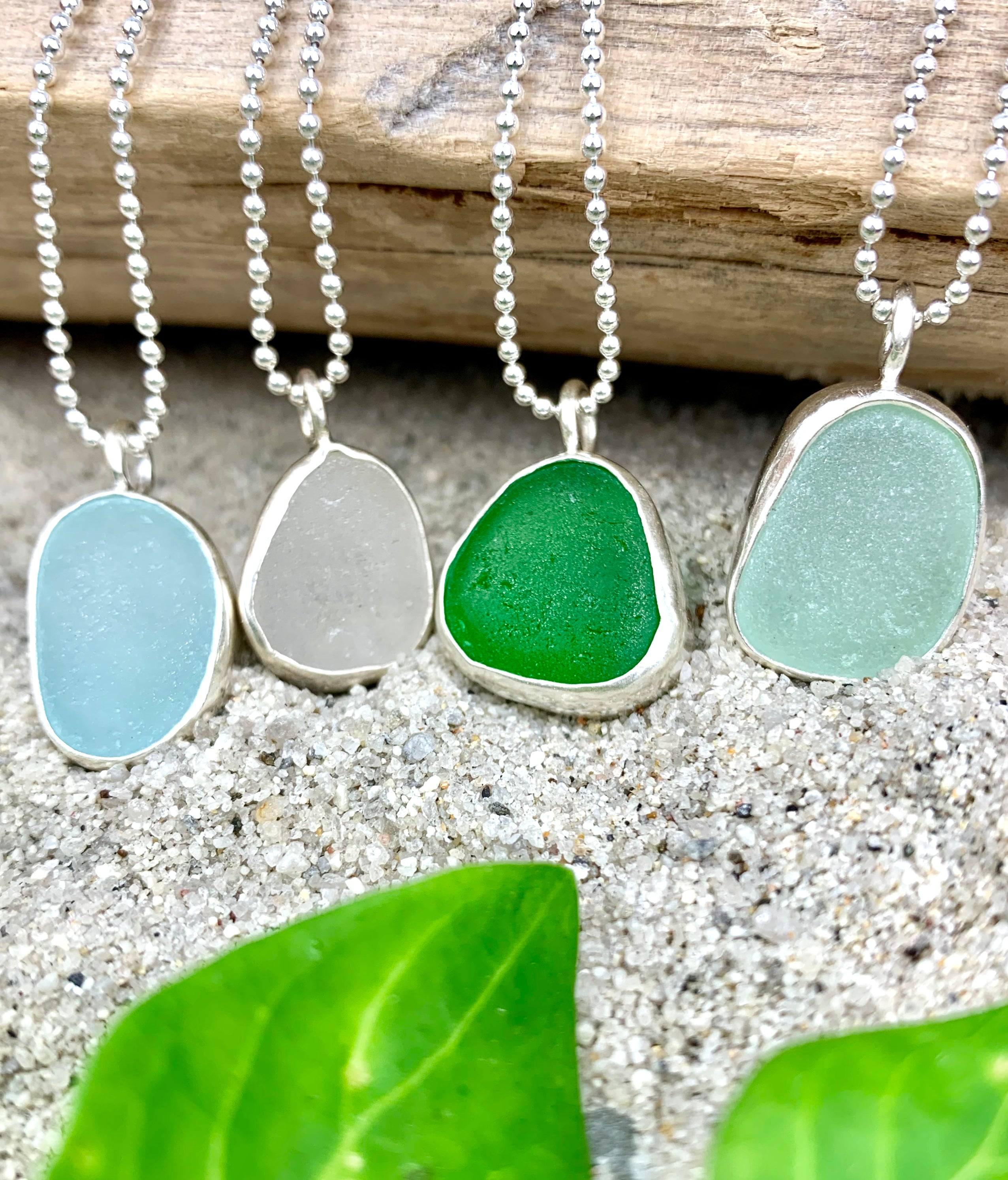 Bezel Sea Glass Necklace