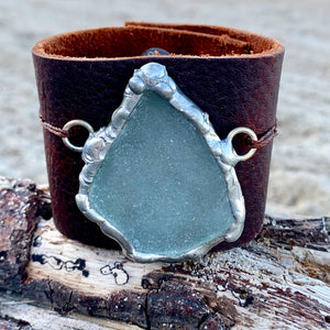 Sea Glass Leather Cuff Bracelet Pale Blue