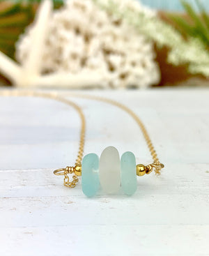 Delicate Stacked Sea Glass Necklace