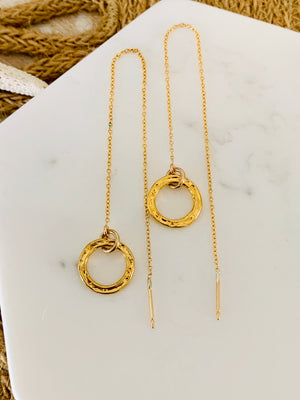 Gold Fill Threader Earrings-Mini Circle