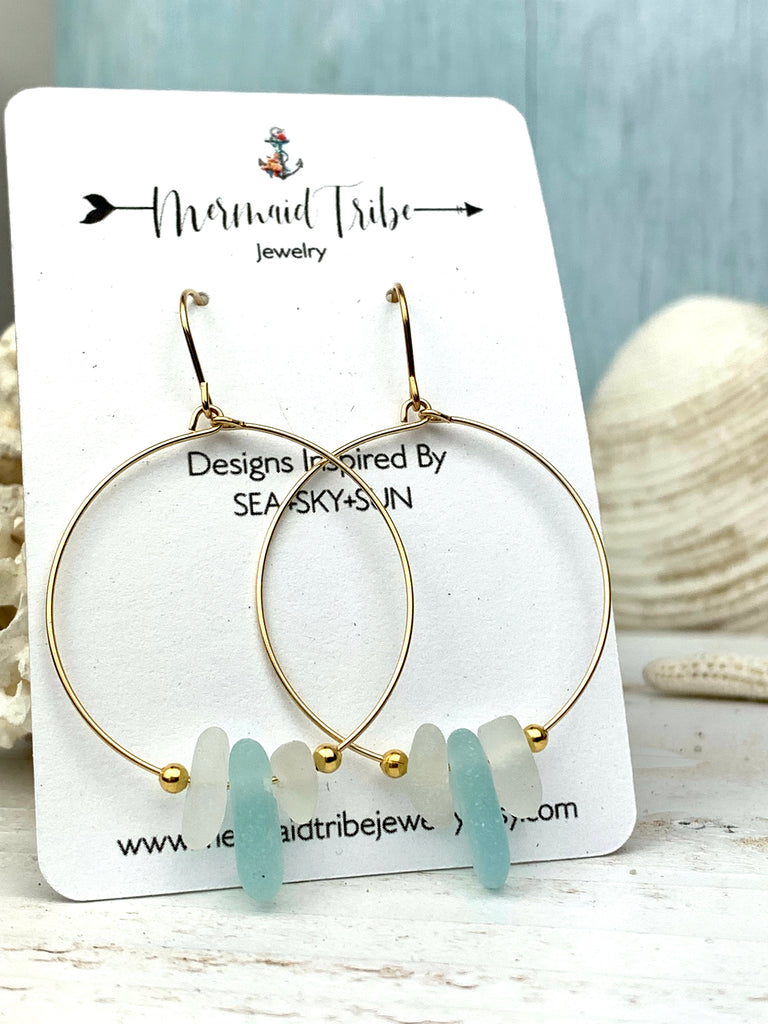 Sea Glass and Gold Hoop Earrings