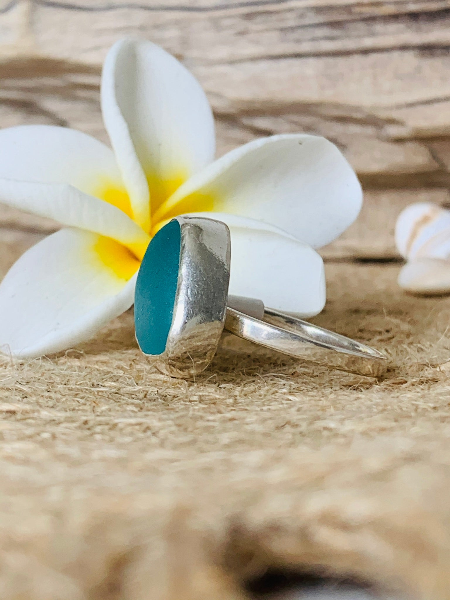 Sea Glass Ring- Aqua Size 8