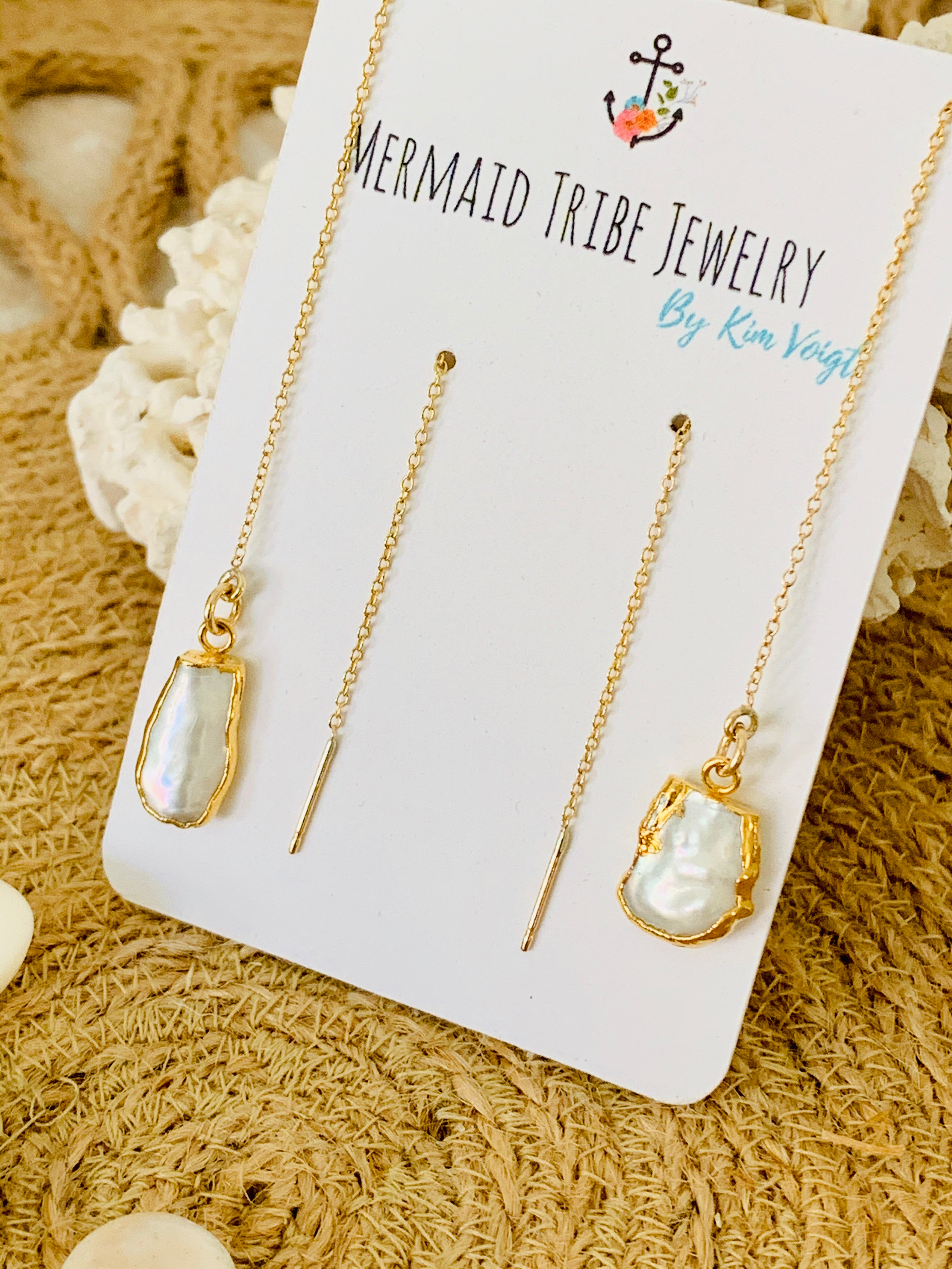 Gold Fill Threader Earrings- Freshwater Pearls