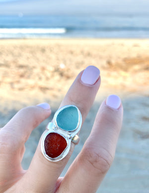 Sea Glass Ring Aqua and Brown Size 6