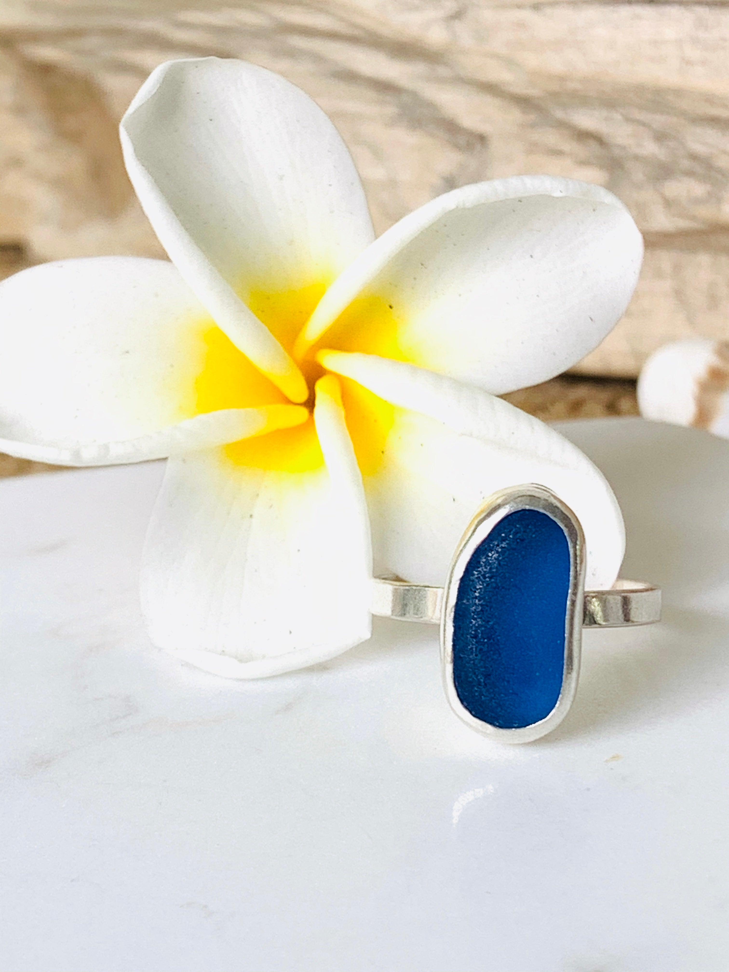 Sea Glass Ring Blue Size 7