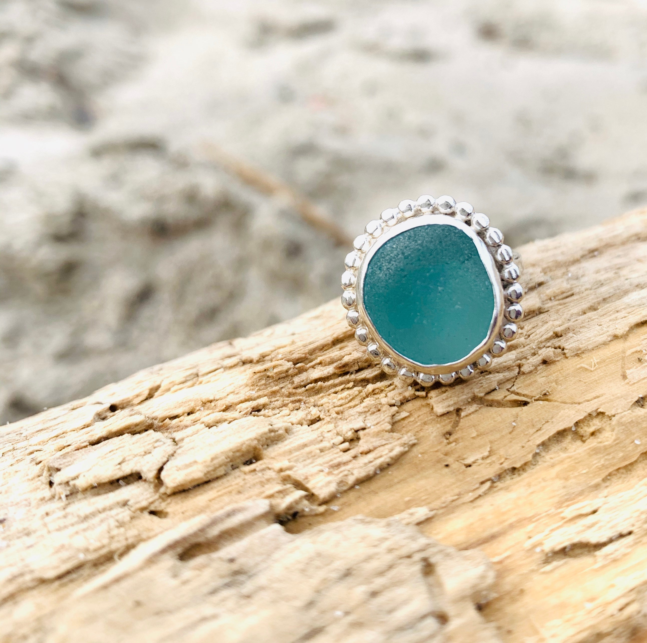 Sea Glass Ring- Aqua Blue Size 5