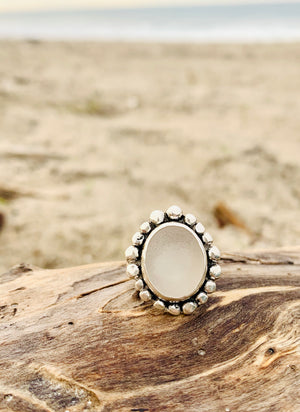 Sea Glass Ring Frosted White Size 7
