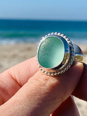 Ocean Sea Glass Ring Sea Foam Size 10