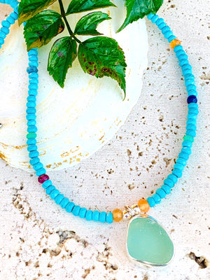 Turquoise Beaded Sea Glass Necklace