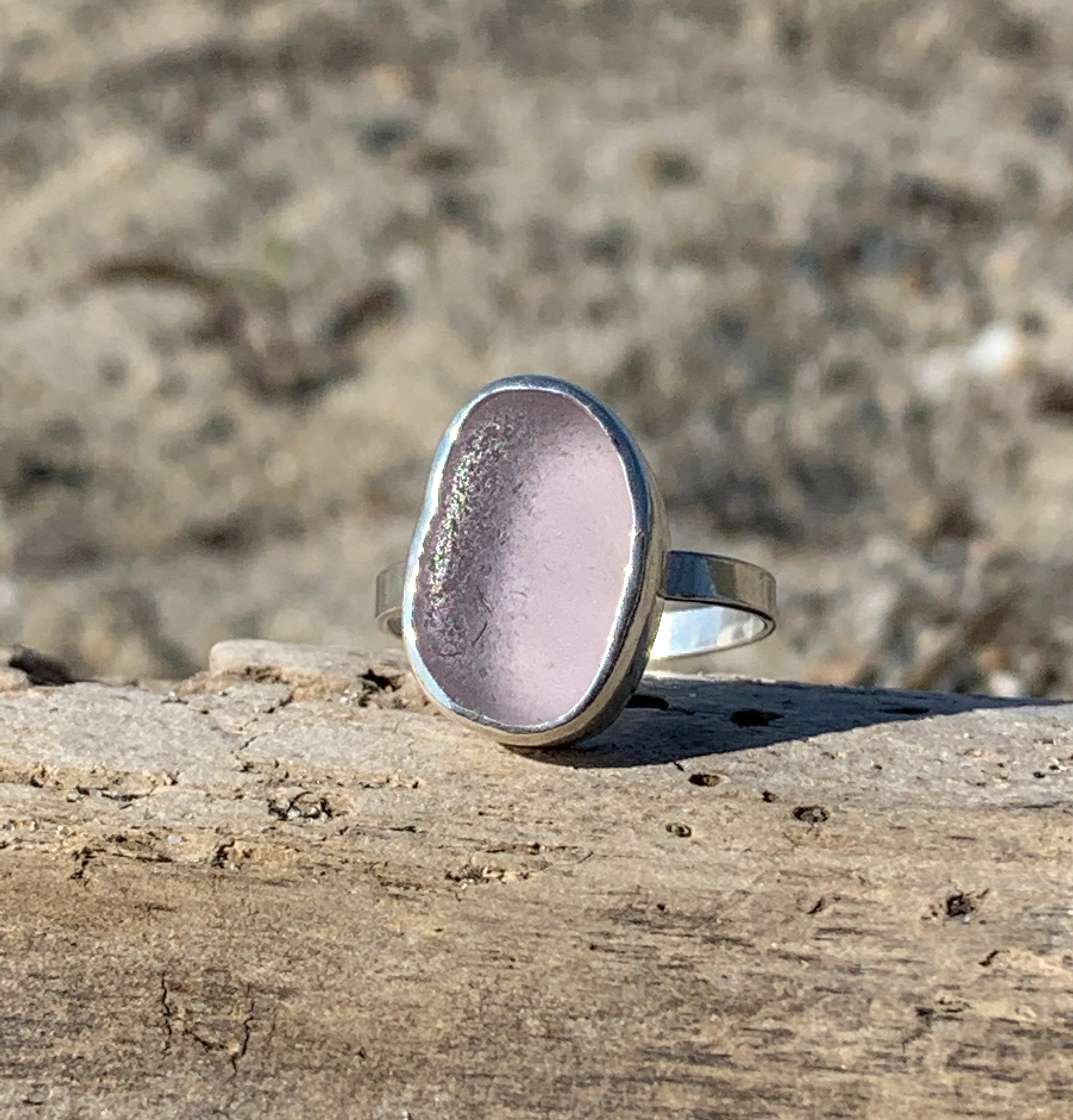Sea Glass Ring- Lavender Size  6