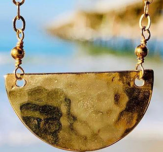 Hammered Half Circle Necklace -Vermeil