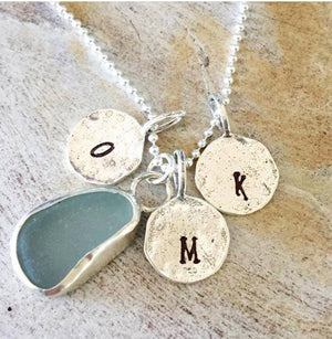 Bezel Sea Glass Necklace with Initials