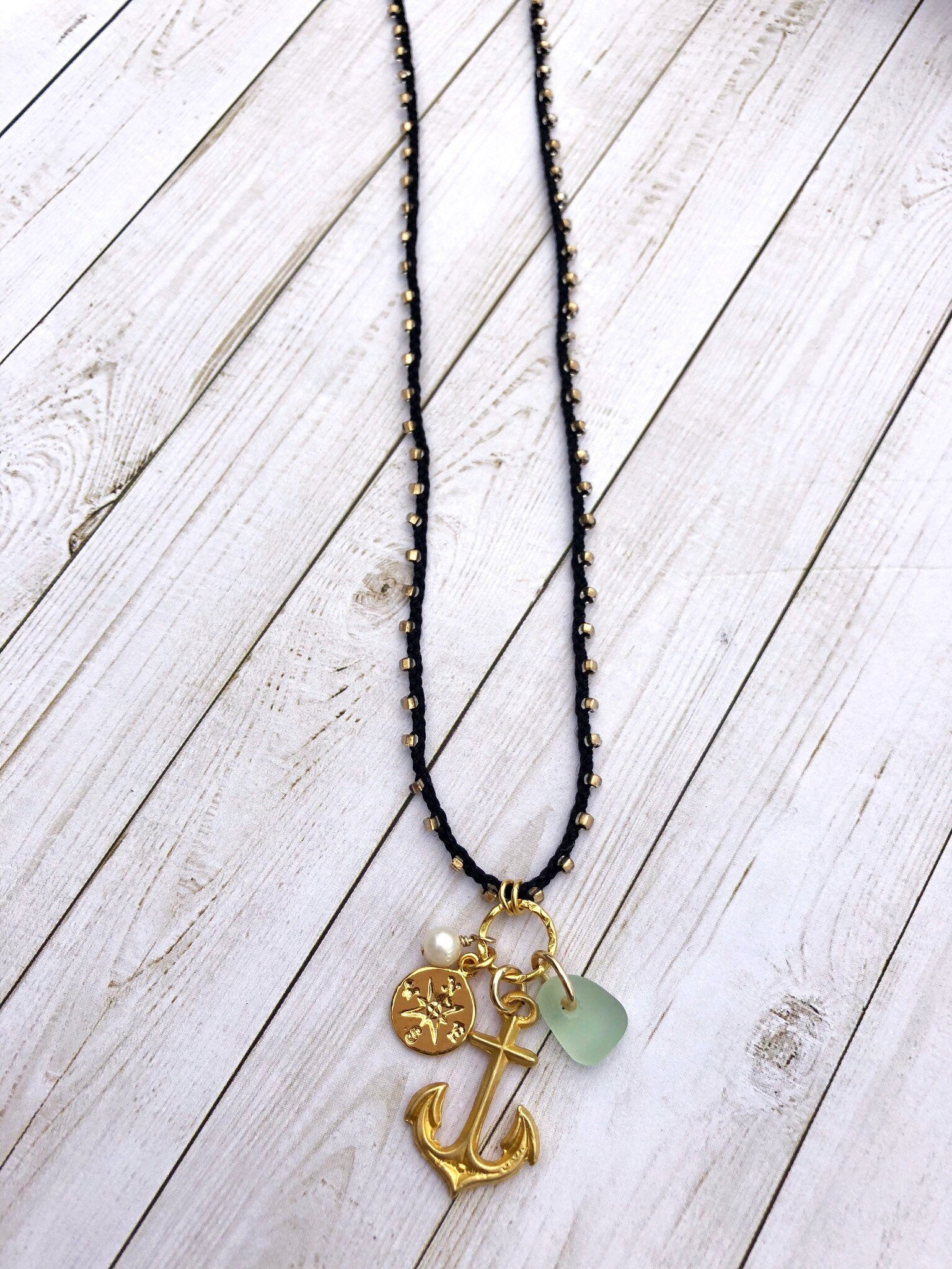Gold Anchor and Sea Glass Necklace