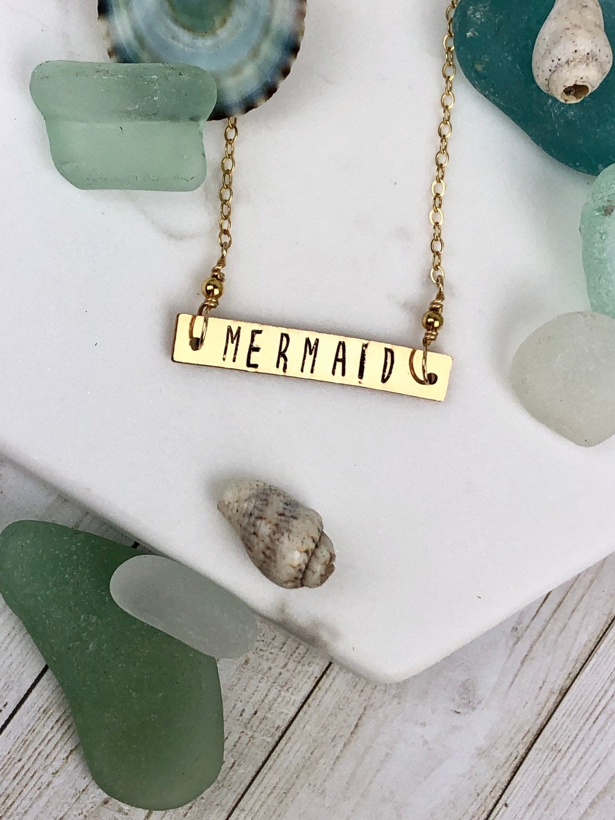 Mermaid Stamped Necklace Gold Fill