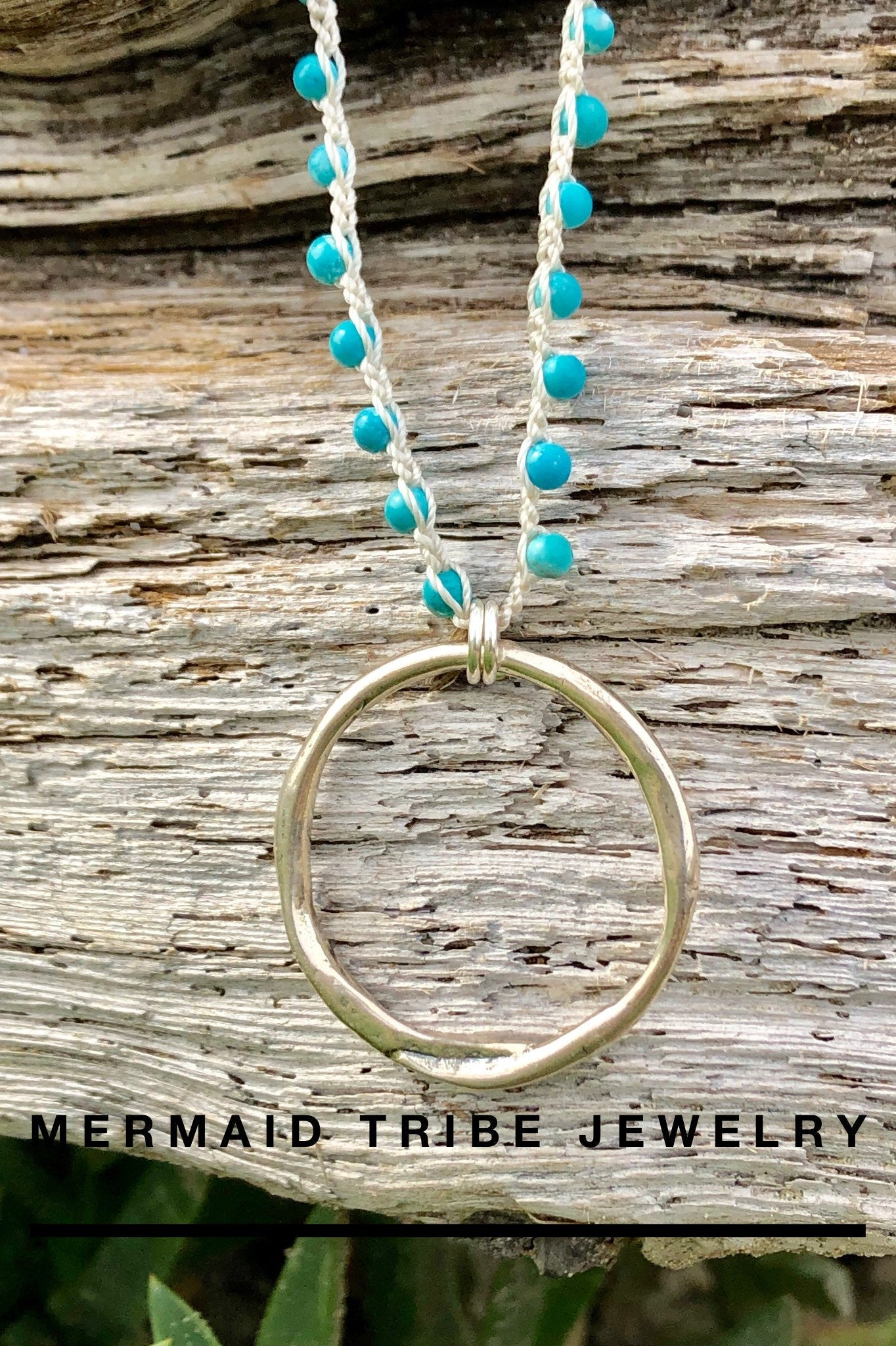 Sterling Silver Hammered Ring Necklace