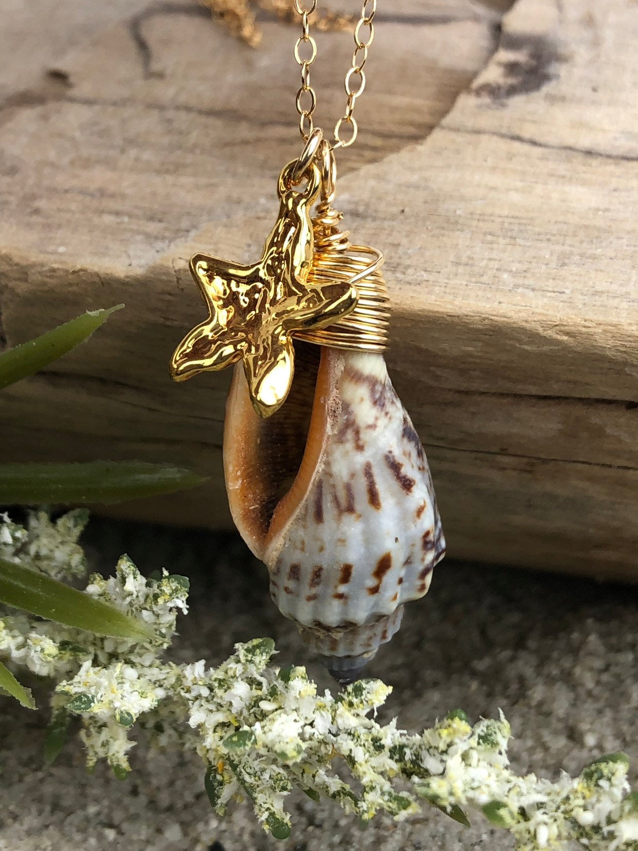 Cone Shell Necklace Gold