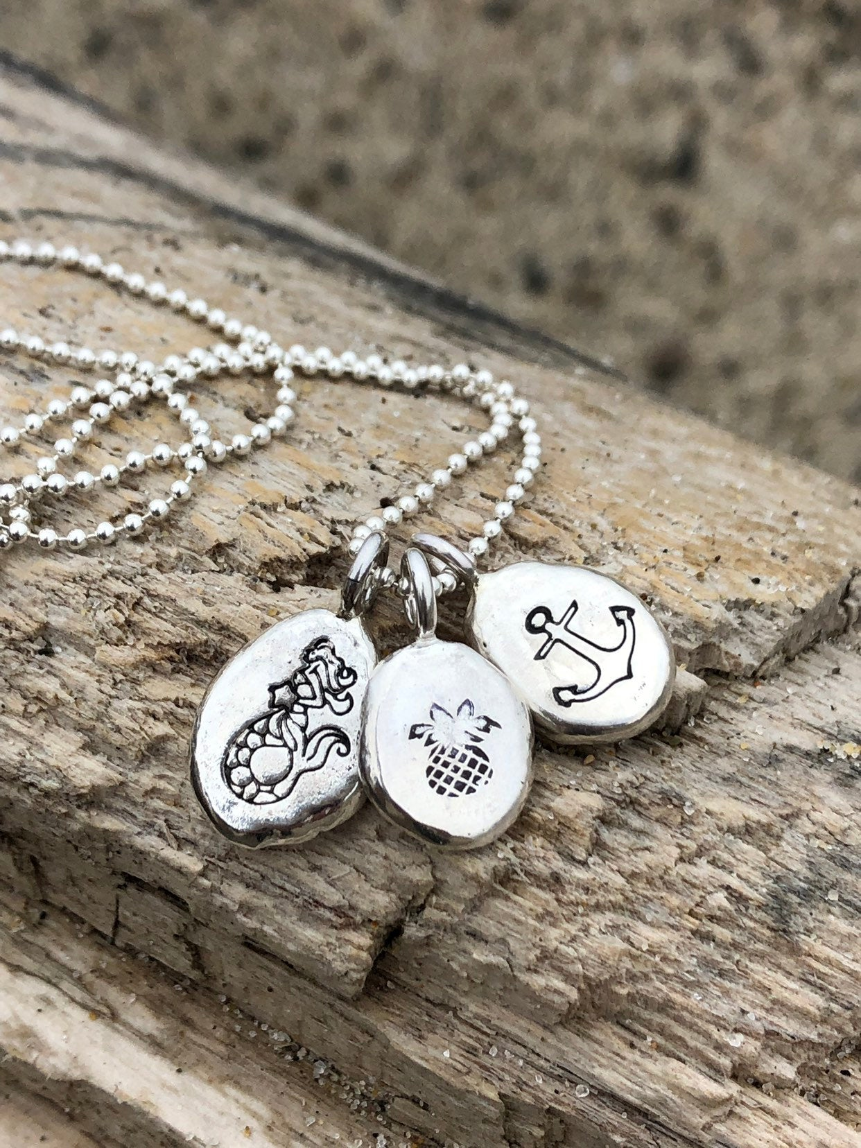 Recycled Sterling Silver Hand Stamped Charm Necklace