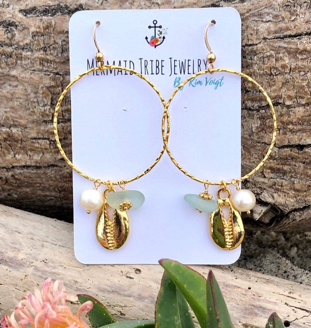 Sea Glass and Cowrie Shell Gold Hoops