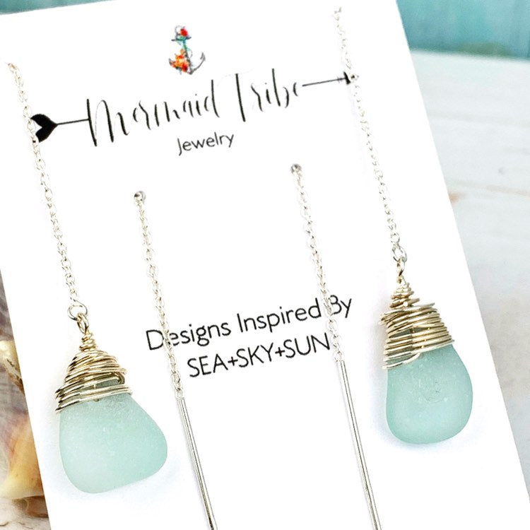 Aqua Sea Glass Threader Earrings