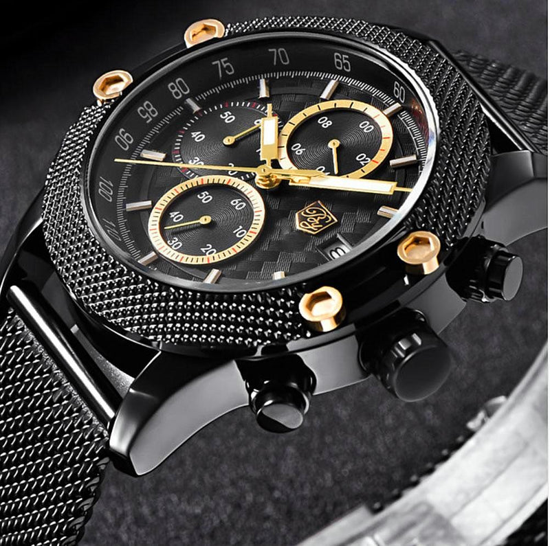 """ECLIPSE"" Large Dial Quartz Men leather watch"