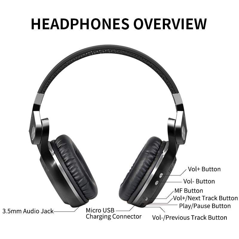 """HURRICANE"" T2S bluetooth wirless headphones w/microphone"