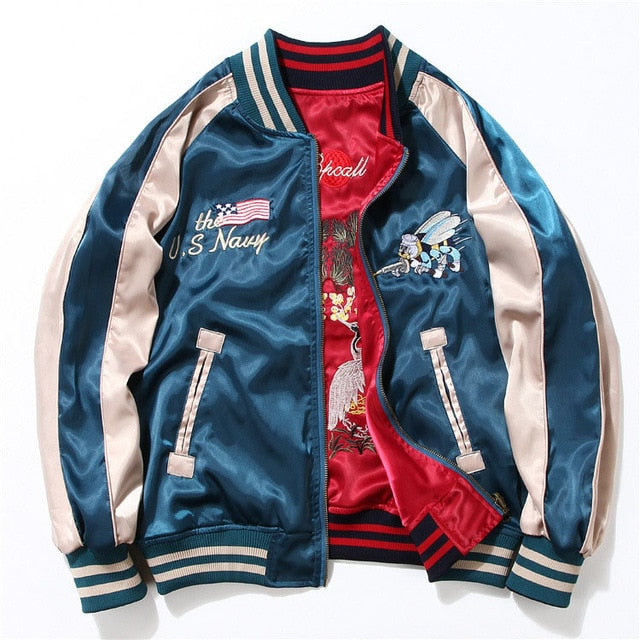 GOLDEN WINGS Embroidered wings bomber jacket
