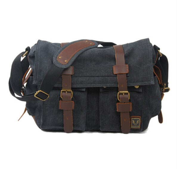 """VALERIAN""  leather messenger  canvas shoulder/crossover bag"