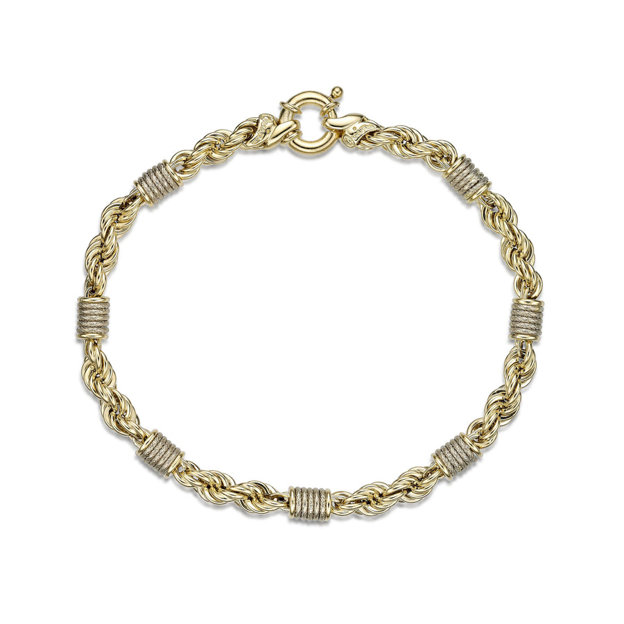 Ribbed Circles Rope Bracelet Anklet  14k Yellow Gold Fashion Beauty Designer Jewelry Store Discount
