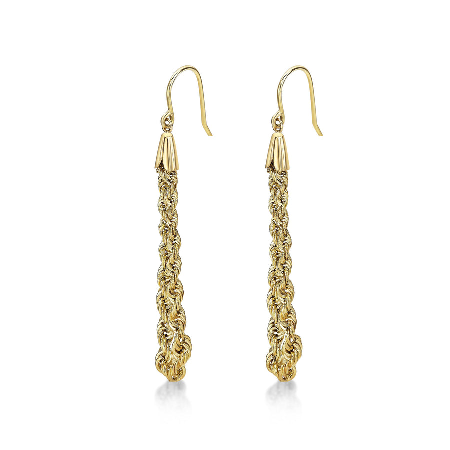 Rope Chain Drop Earrings 14k Yellow Gold Fashion Beauty Designer Jewelry Store Discount