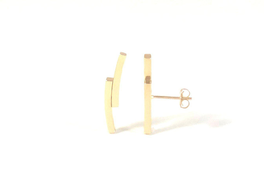 Double Bar Curved Climber Earring 14k Yellow Gold Fashion Beauty Designer Jewelry Store Discount