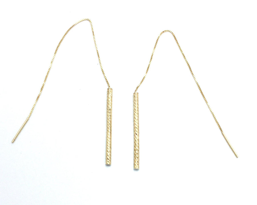 Box Tinsel Chain Women's Threaders Earrings 14k Yellow Gold Fashion Beauty Designer Jewelry Store Discount