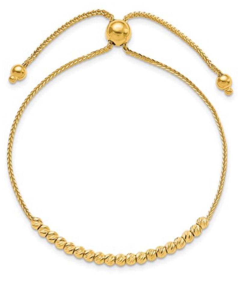 beaded toggle slide rope bracelet 14k Yellow Gold Fashion Beauty Designer Jewelry Stores Discount