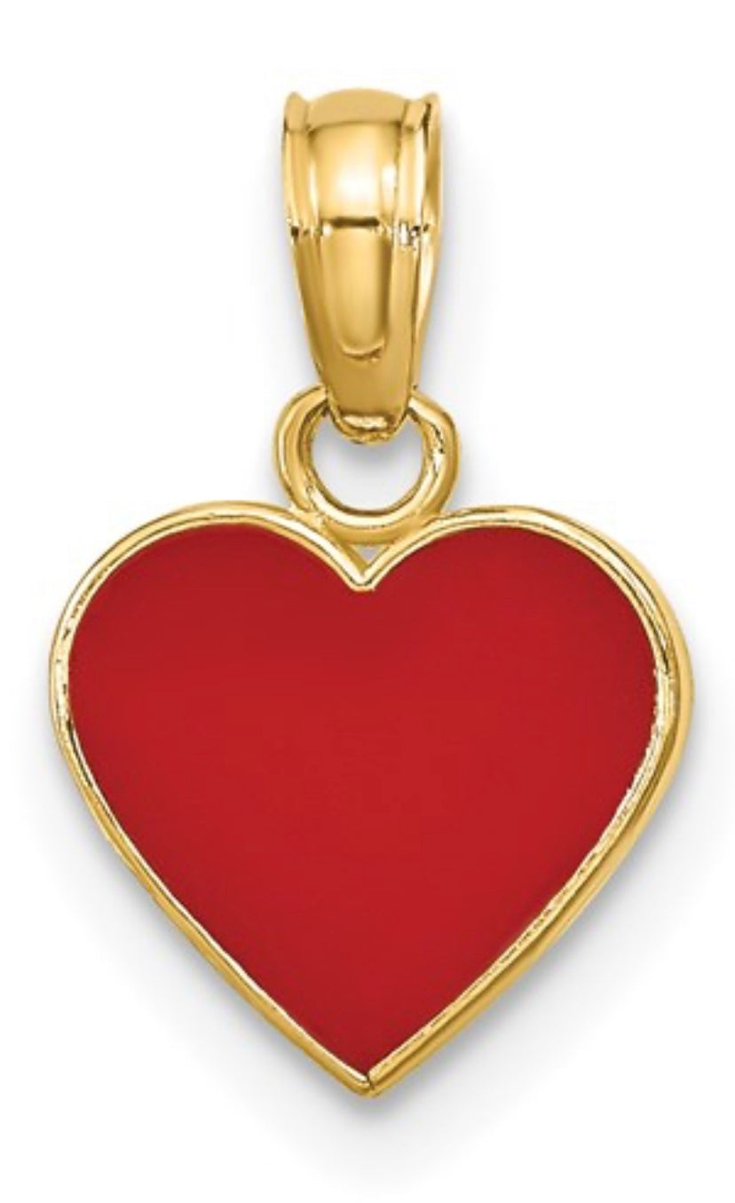 Polished Enameled Heart Pendant Charm