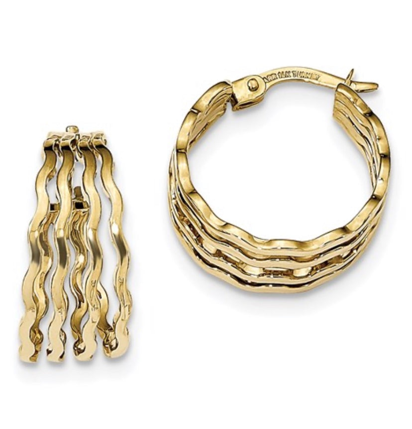 Polished 4-Bar Wavy Hoop Earrings