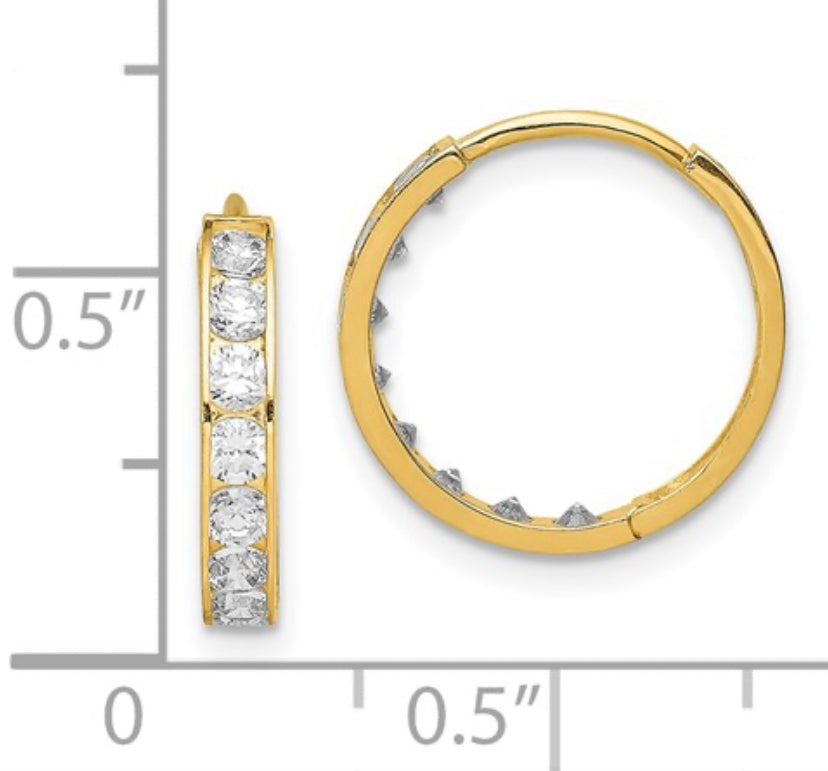 CZ cubic zirconia hinged hoop earrings 14k Yellow Gold Fashion Beauty Designer Jewelry Stores Discount