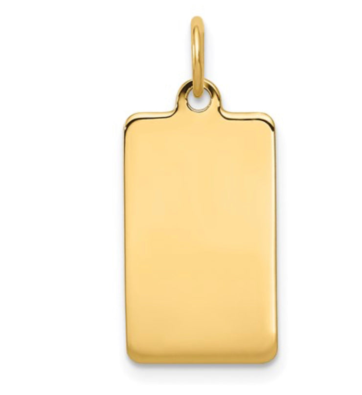 plain rectangular engravable disc pendant charm 14k Yellow Gold Fashion Beauty Designer Jewelry Stores Discount