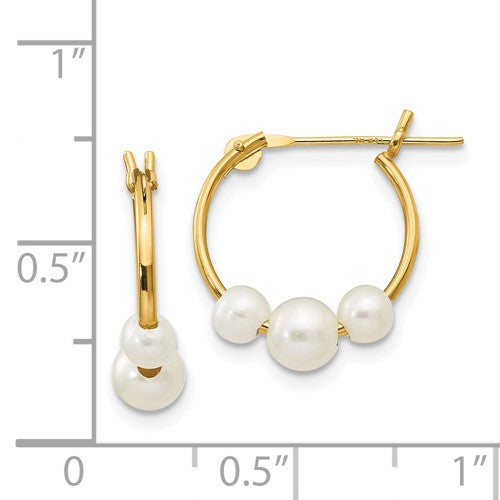Freshwater Pearls Mini Hoop Earrings 14k Yellow Gold Fashion Beauty Designer Jewelry Stores Discount