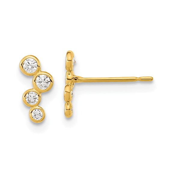 CZ cubic zirconia bezel set post Earrings 14k Yellow Gold Fashion Beauty Designer Jewelry Stores Discount