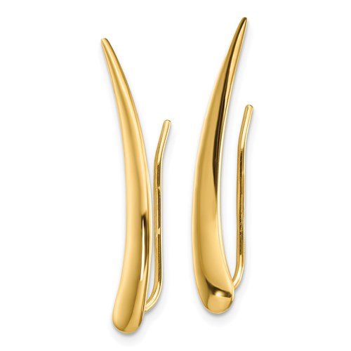Polished Pointed Ear Climber Earrings 14k Yellow Gold Fashion Beauty Designer Jewelry Stores Discount