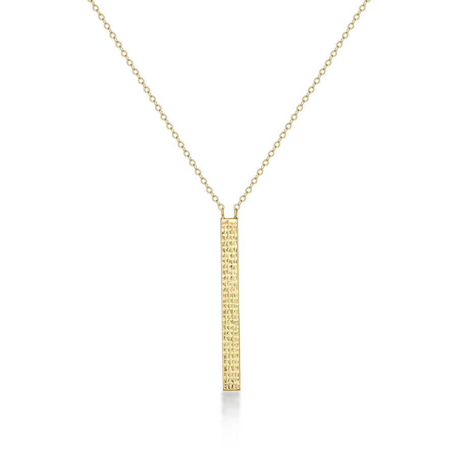 Cable Chain Women's Necklace Hammered Bar Pendant 14k Yellow Gold Fashion Beauty Designer Jewelry Store Discount