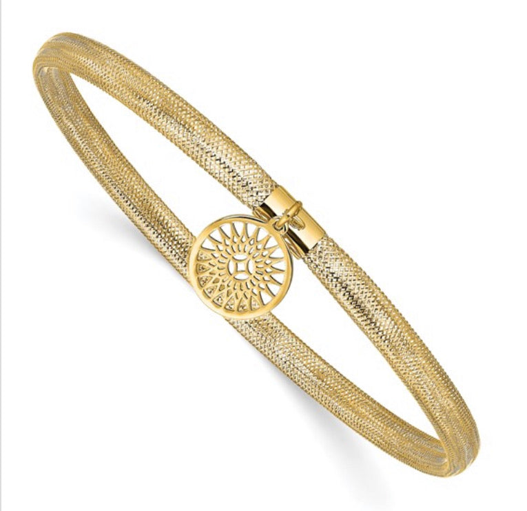 14k Gold Mesh Bangle with Sunburst Charm