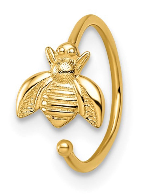 14K Gold Bee Ear Cuff