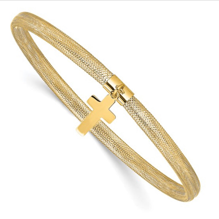 14k Gold Cross Charm Mesh Bangle