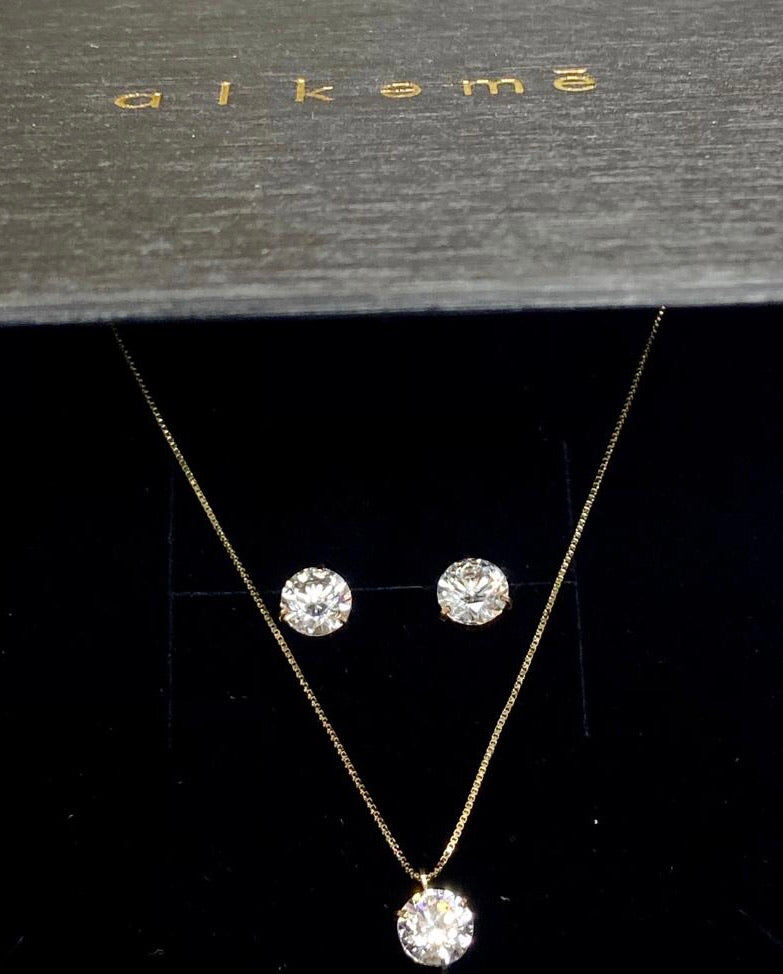 The Radiance Set • 14k Gold & CZ Earrings and Necklace