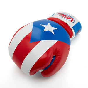 Puerto Rico Pride LEATHER Boxing Gloves with PR Hand Wraps, Laundry Bag & Glove Dogs