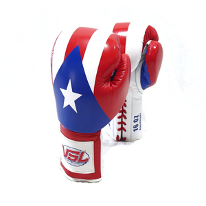PUERTO RICO Pride Valle 4000 LEATHER Pro Lace-up Boxing Gloves